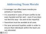 addressing team morale