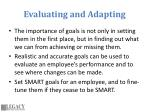 evaluating and adapting