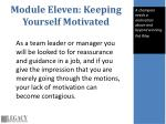 module eleven keeping yourself motivated