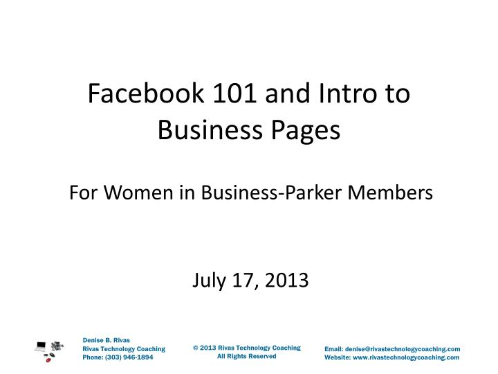 facebook 101 and intro to business pages n.