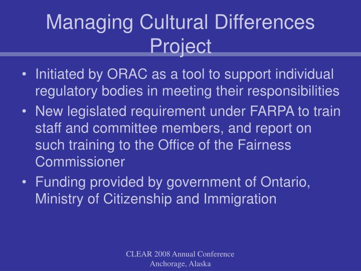 Managing Cultural Differences Project