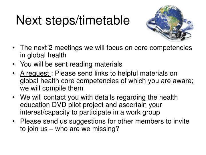 Next steps/timetable