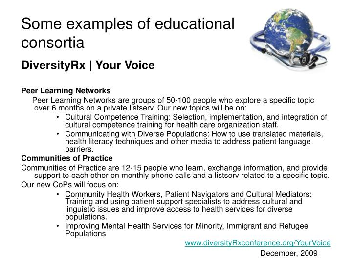 Some examples of educational consortia