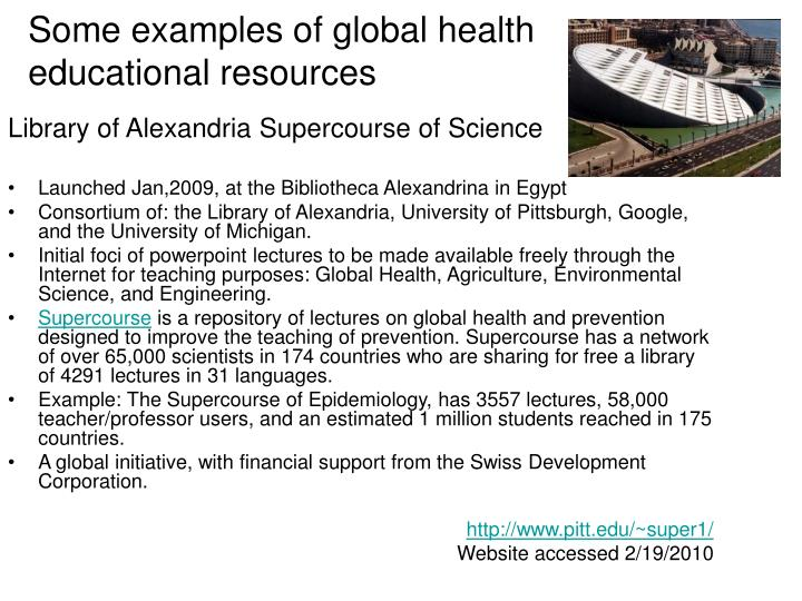 Some examples of global health