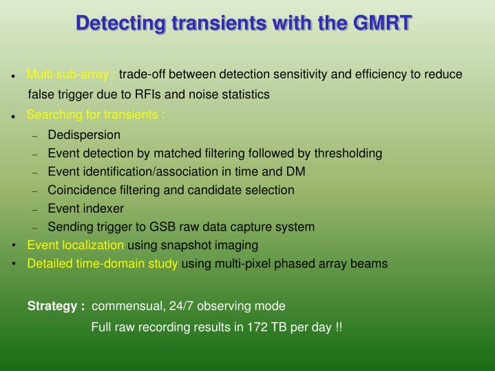 Detecting transients with the GMRT