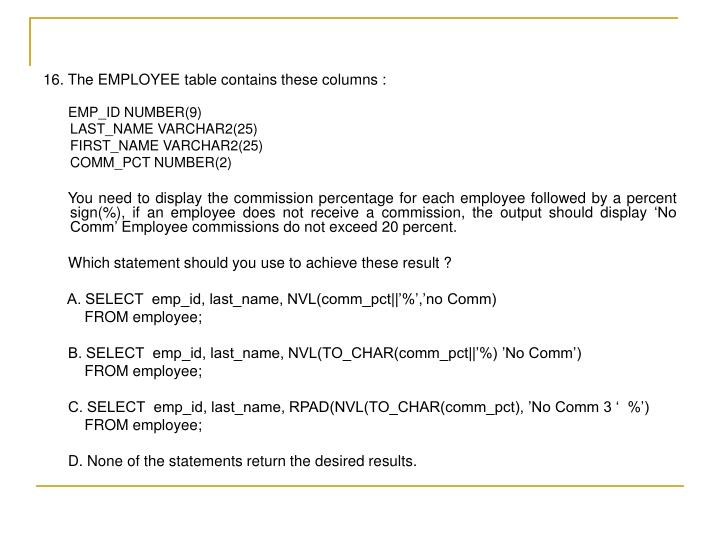 16. The EMPLOYEE table contains these columns :