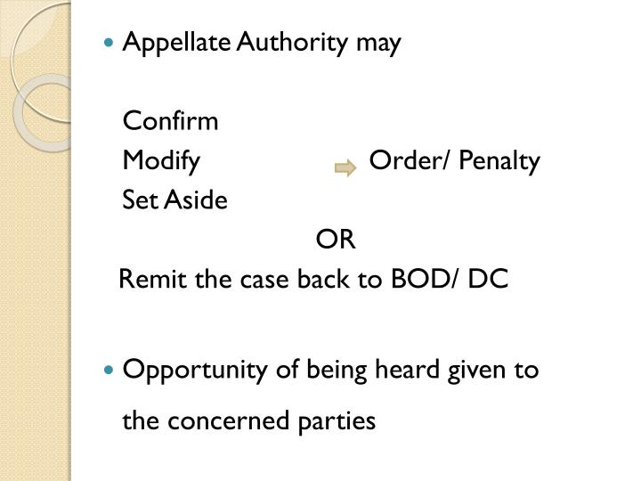 Appellate Authority may
