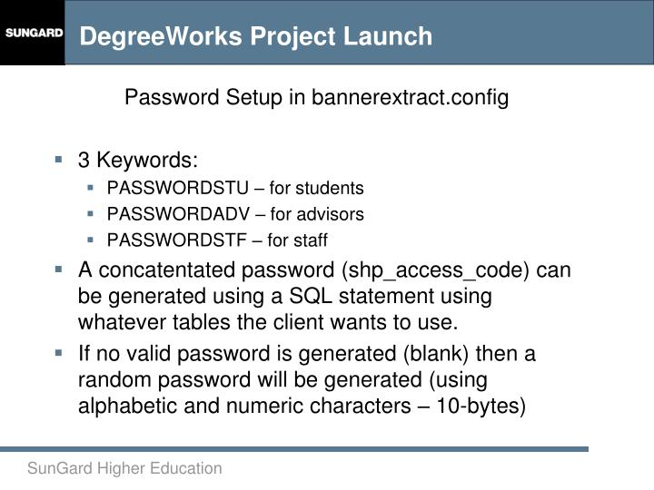 Password Setup in bannerextract.config