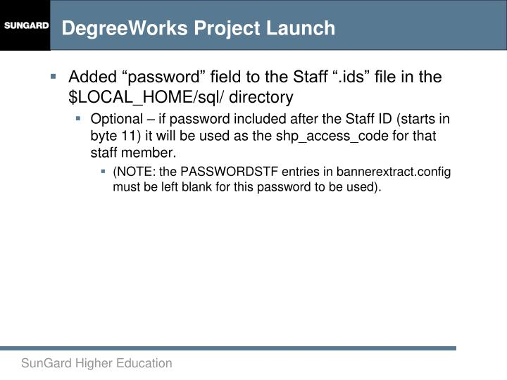 "Added ""password"" field to the Staff "".ids"" file in the $LOCAL_HOME/sql/ directory"