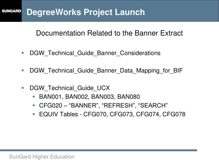 Documentation Related to the Banner Extract