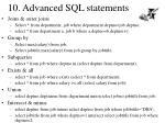 10 advanced sql statements