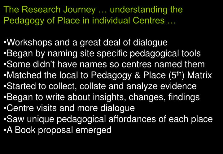 The Research Journey … understanding the Pedagogy of Place in individual Centres …