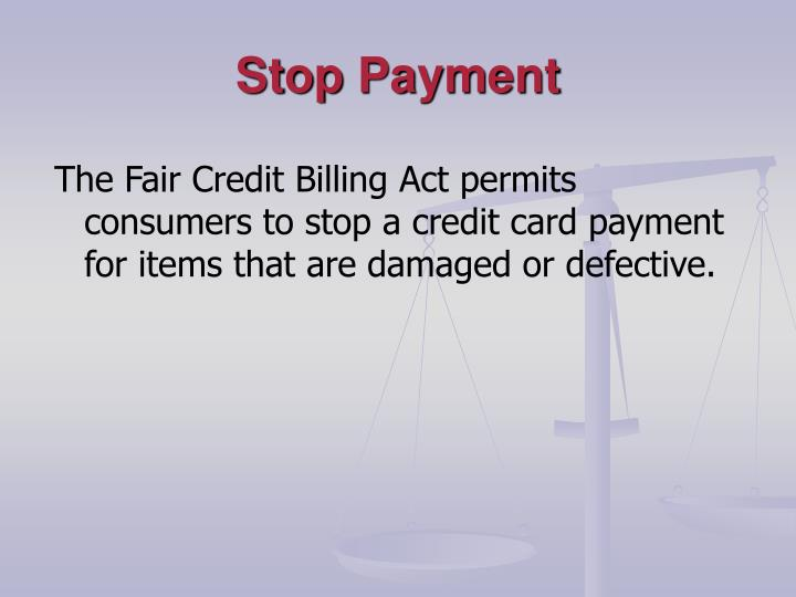 Stop Payment