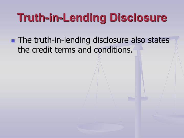 Truth-in-Lending Disclosure