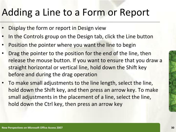Adding a Line to a Form or Report