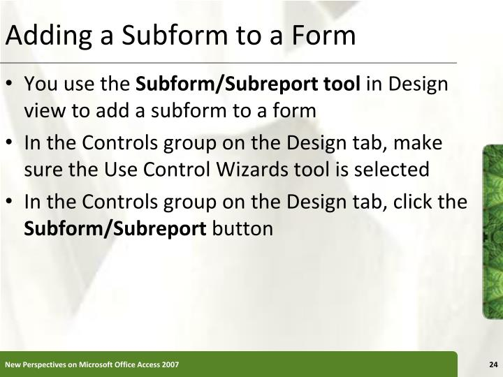 Adding a Subform to a Form