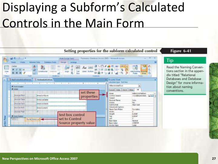 Displaying a Subform's Calculated Controls in the Main Form
