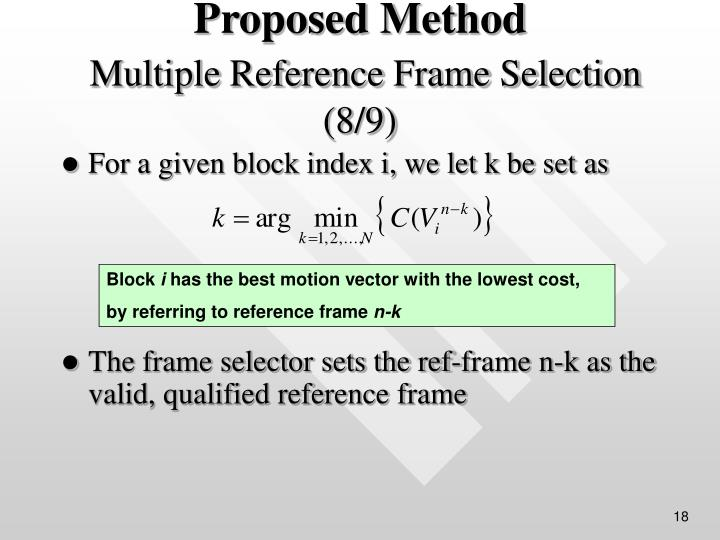 For a given block index i, we let k be set as