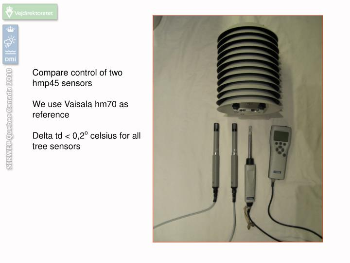Compare control of two hmp45 sensors