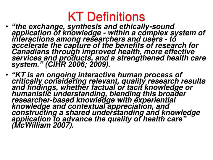 KT Definitions