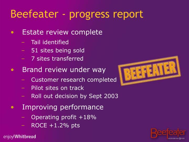 Beefeater - progress report