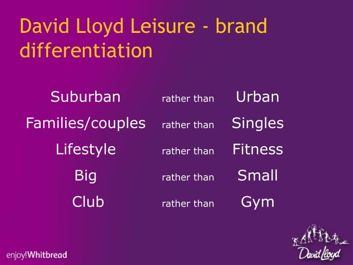 David Lloyd Leisure - brand differentiation