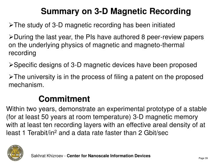 Summary on 3-D Magnetic Recording