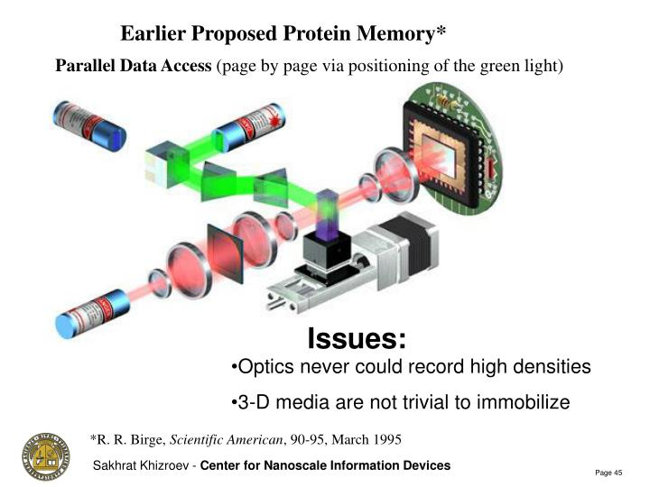 Earlier Proposed Protein Memory*