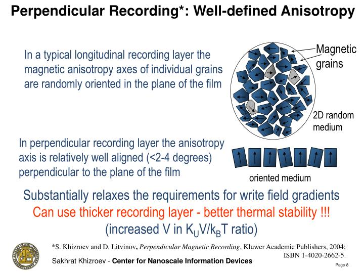 Perpendicular Recording*: Well-defined Anisotropy