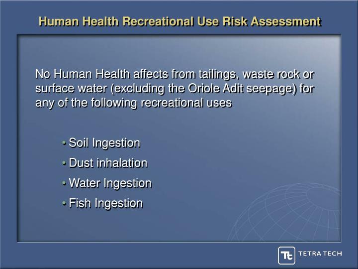 Human Health Recreational Use Risk Assessment