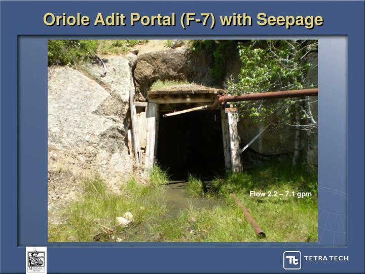 Oriole Adit Portal (F-7) with Seepage