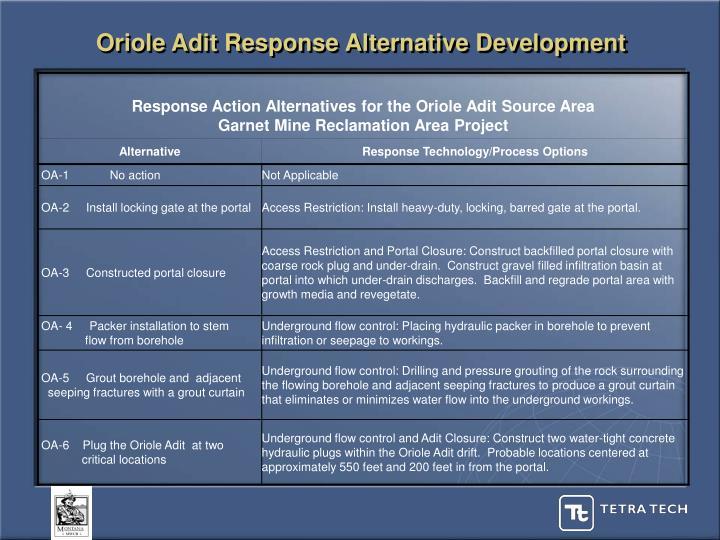 Oriole Adit Response Alternative Development