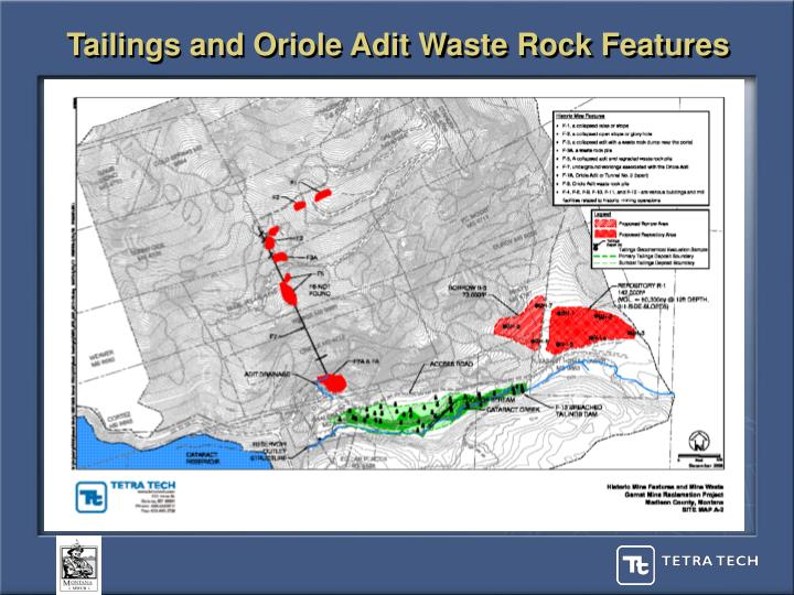 Tailings and Oriole Adit Waste Rock Features