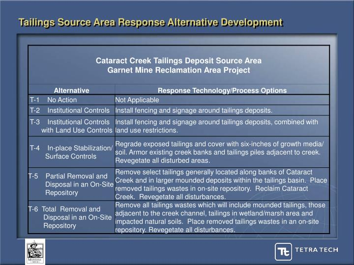 Tailings Source Area Response Alternative Development