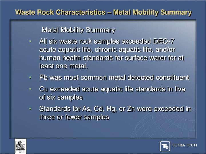 Waste Rock Characteristics – Metal Mobility Summary