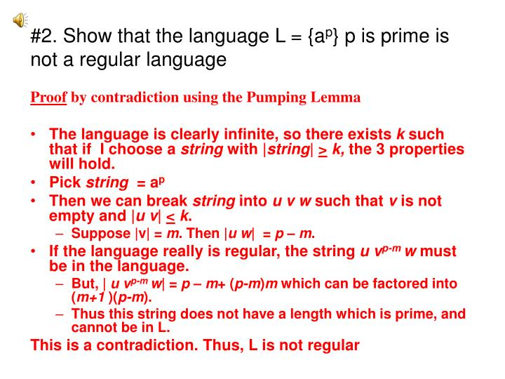 2 show that the language l a p p is prime is not a regular language