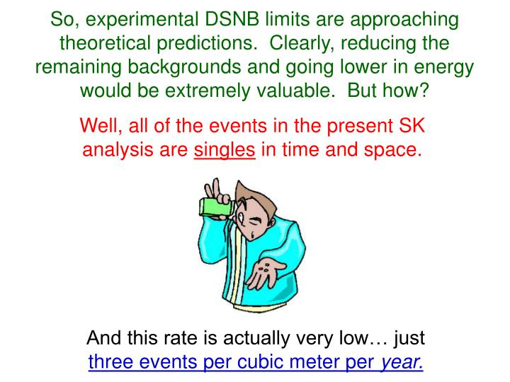 So, experimental DSNB limits are approaching theoretical predictions.  Clearly, reducing the remaining backgrounds and going lower in energy would be extremely valuable.  But how?