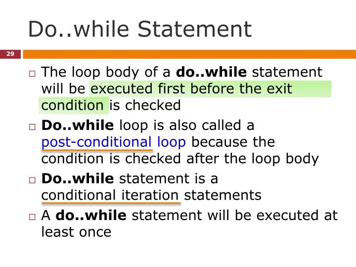 Do..while Statement