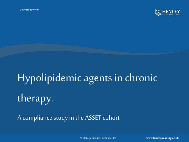 hypolipidemic agents in chronic therapy n.