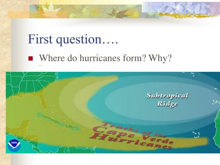 First question….