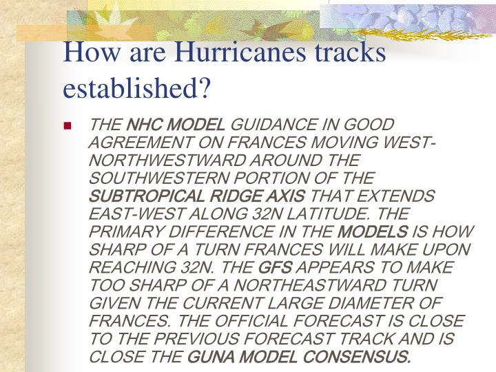 How are Hurricanes tracks established?