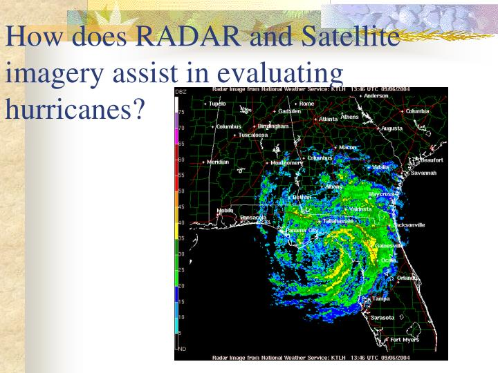 How does RADAR and Satellite imagery assist in evaluating hurricanes?