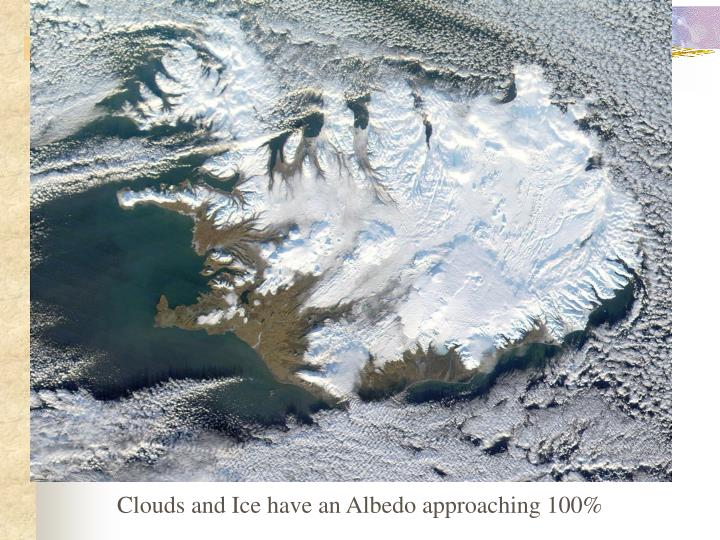 Clouds and Ice have an Albedo approaching 100%