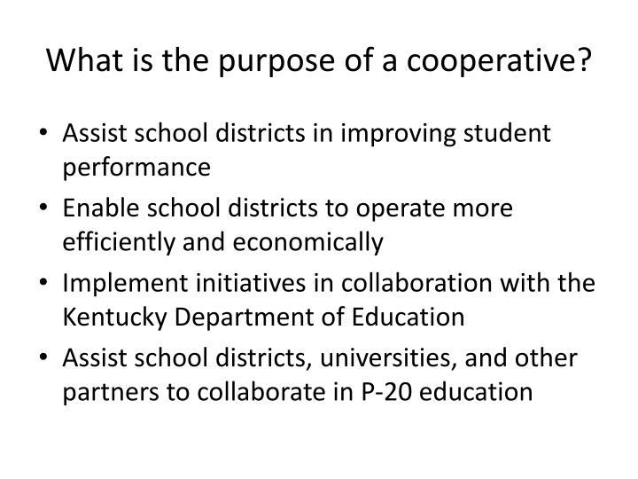 what is the purpose of a cooperative