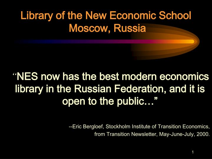Library of the new economic school moscow russia