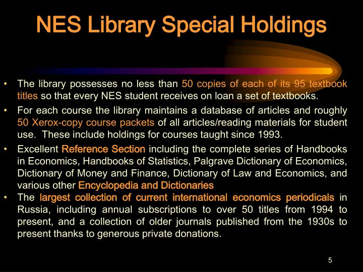 NES Library Special Holdings