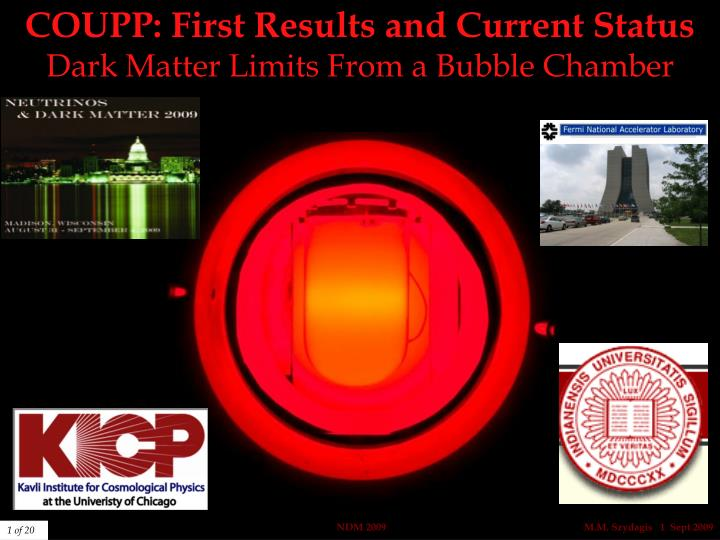 coupp first results and current status dark matter limits from a bubble chamber n.
