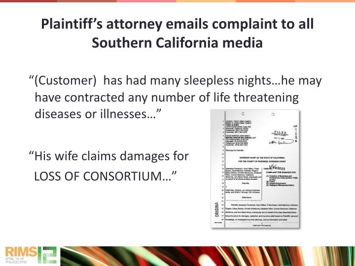 Plaintiff's attorney emails complaint to all Southern California media