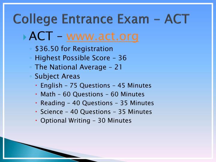 College Entrance Exam - ACT