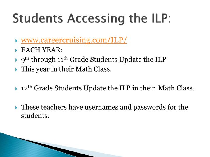 Students Accessing the ILP: